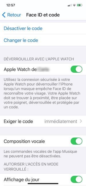 deverrouiller avec l apple watch face id et code