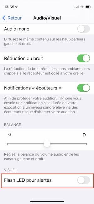 flash led pour alertes iphone