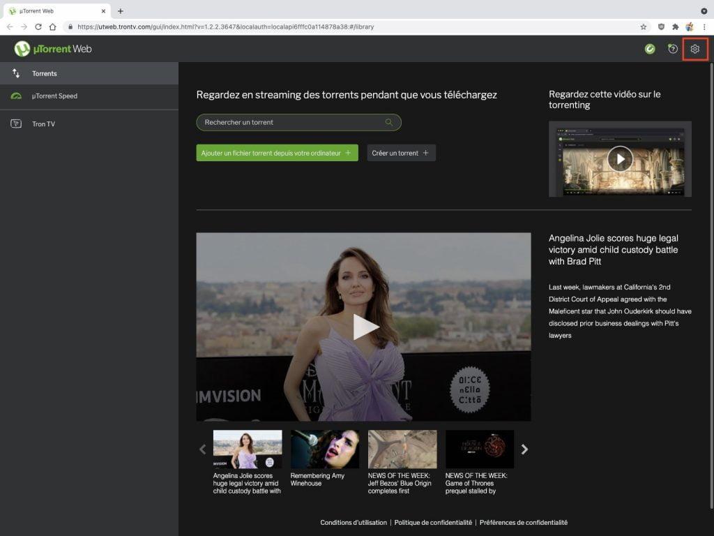 uTorrent Web reglages