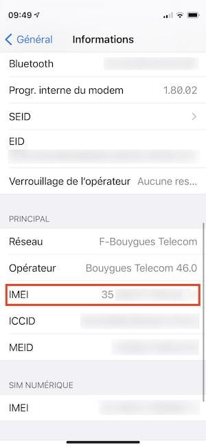 IMEI et numero de serie iphone pour verifier si debloque
